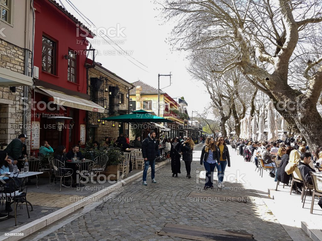 people in cafe shops in ioannina city greece stock photo