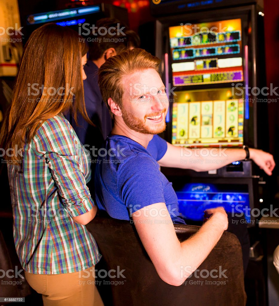People in casino stock photo