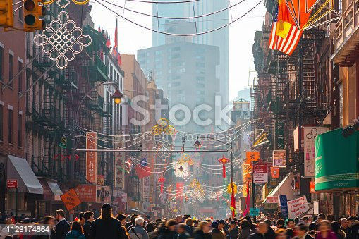 People celebrate the Chinese New Year in the street of Chinatown, New York City