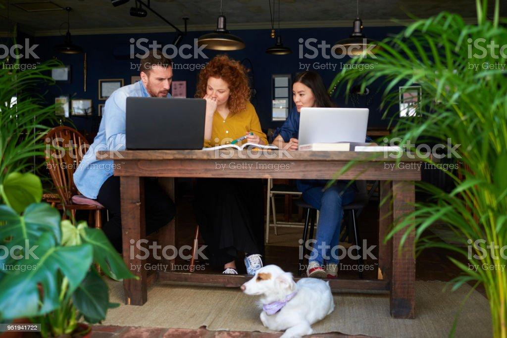 Personas en una cafetería - foto de stock