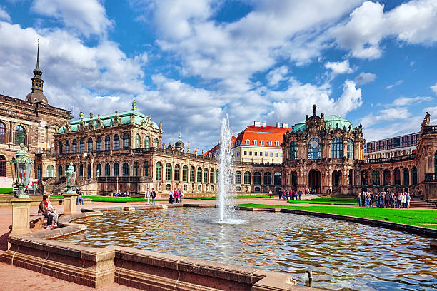 People in court Zwinger Dresden. Dresden, Germany-  September 8, 2015 :  People in court Zwinger Palace (Der Dresdner Zwinger)  Art Gallery of Dresden, which was almost completely destroyed during the Second World War. Saxony, Germany. zwanger stock pictures, royalty-free photos & images