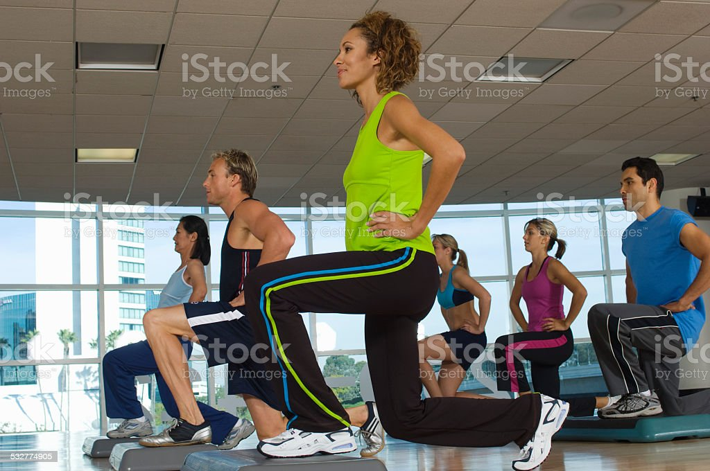 People in Fitness Class stock photo