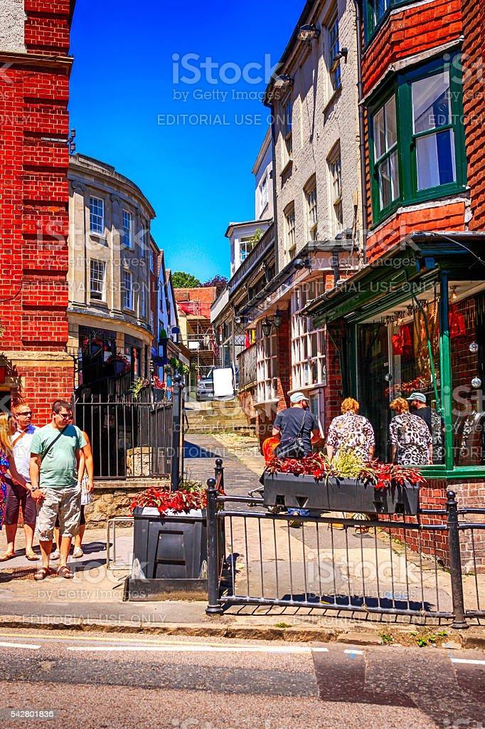 People in Free's Avenue in Marlborough, UK stock photo