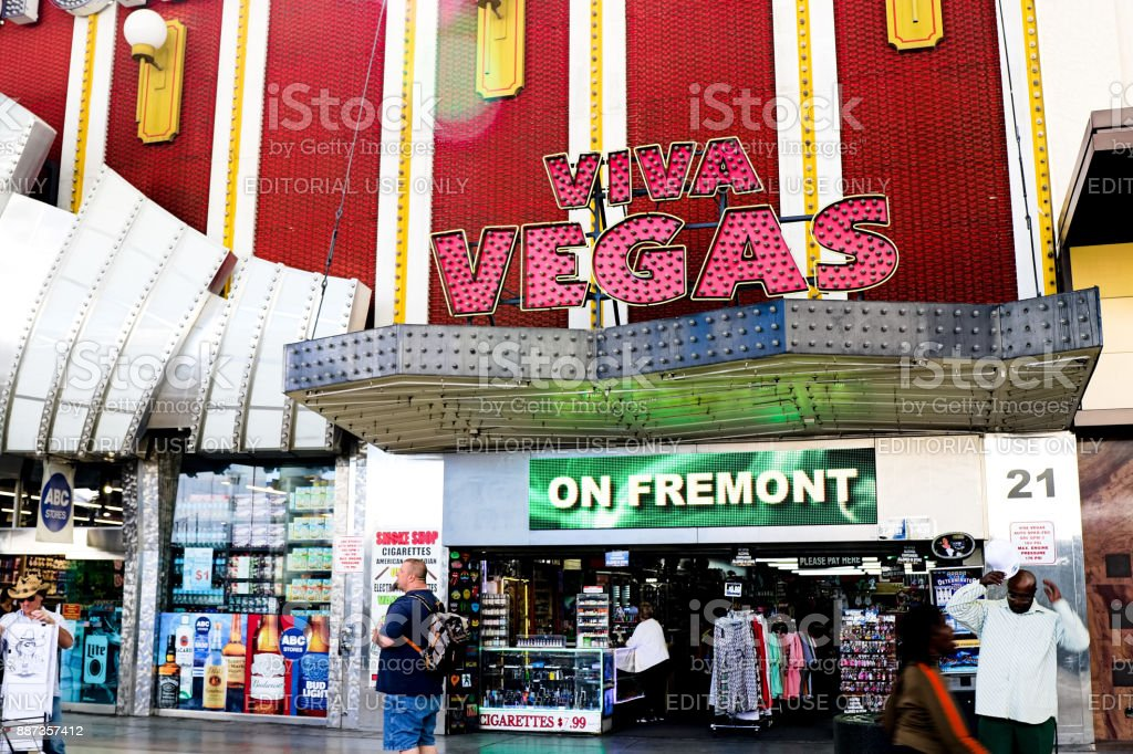 People in Fremont Street Experience at morning. stock photo