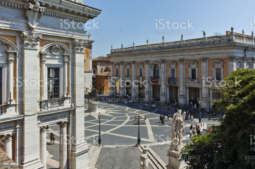 People in front of Capitoline Museums in city of Rome, Italy royalty-free stock photo