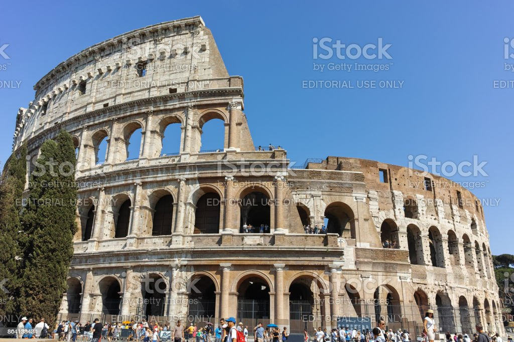 People in front of  Colosseum in city of Rome, Italy royalty-free stock photo