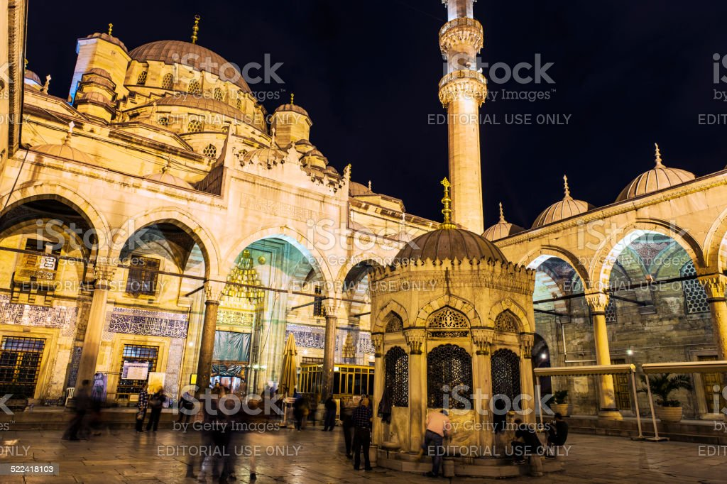 People in front of Istanbul Yeni Cami Mosque,Istanbul,Turkey stock photo