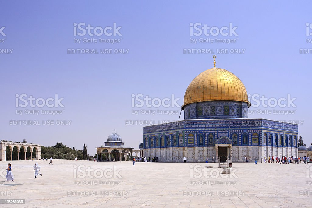 People in front of the Al - Aksa, Jerusalem royalty-free stock photo
