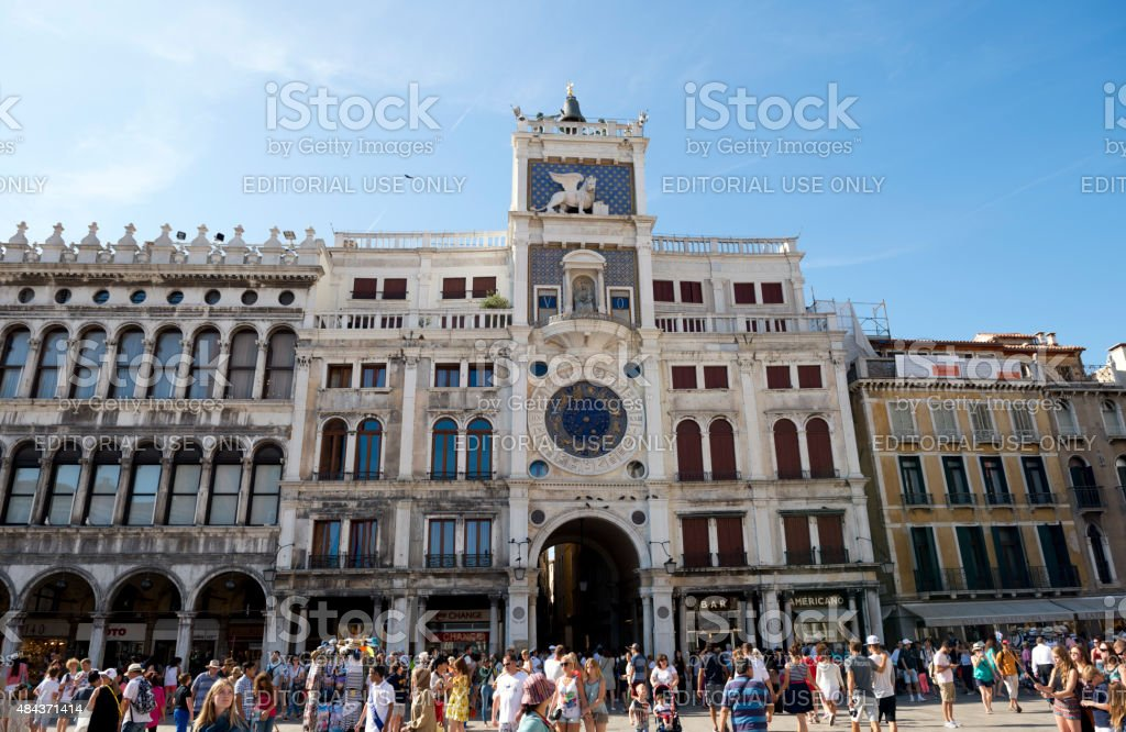 People in front of the Clocktower in Venice stock photo