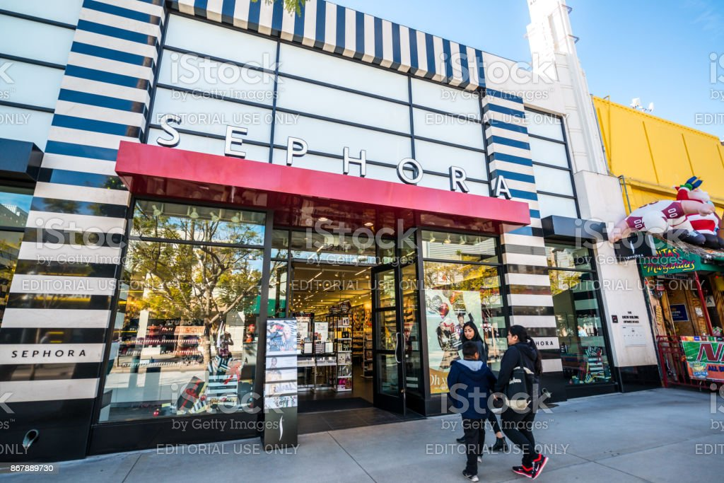 People in front of the entrance to Sephora store, Santa Monica, USA stock photo