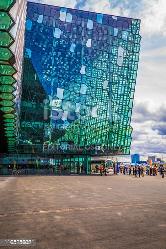 istock people in front of the Harpa concert hall, vertical 1165256021