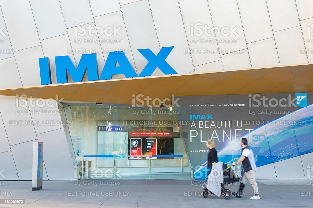People in front of the IMAX theatre in Melbourne stock photo