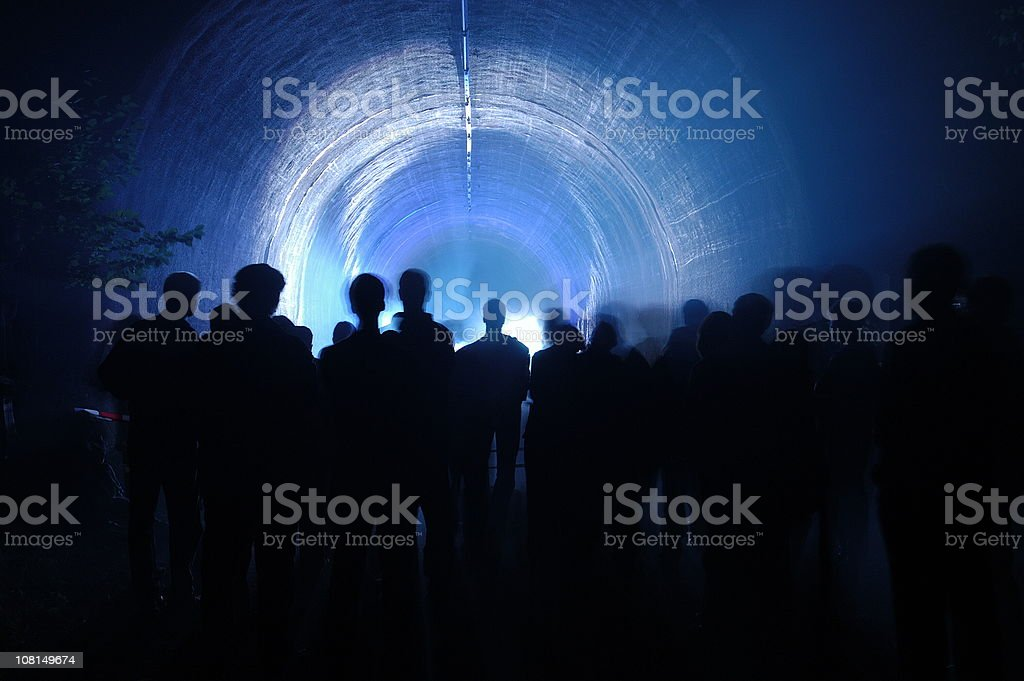 People in front of the tunnel royalty-free stock photo