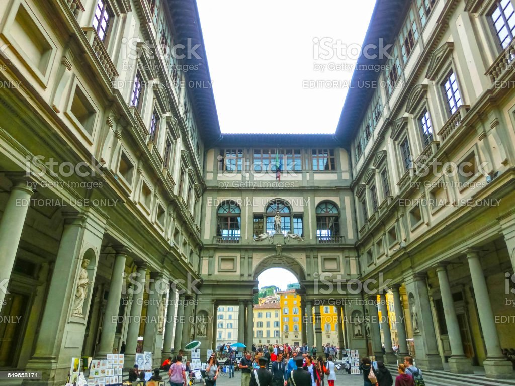 Florence, Italy - May 01, 2014: People in front of Uffizi Gallery stock photo