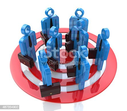 istock People in group stand in red target 487354902