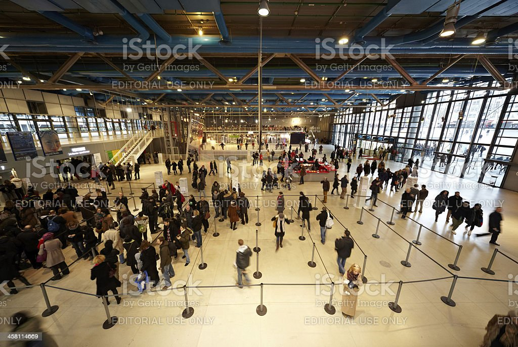 People in hall of the Pompidou Center stock photo