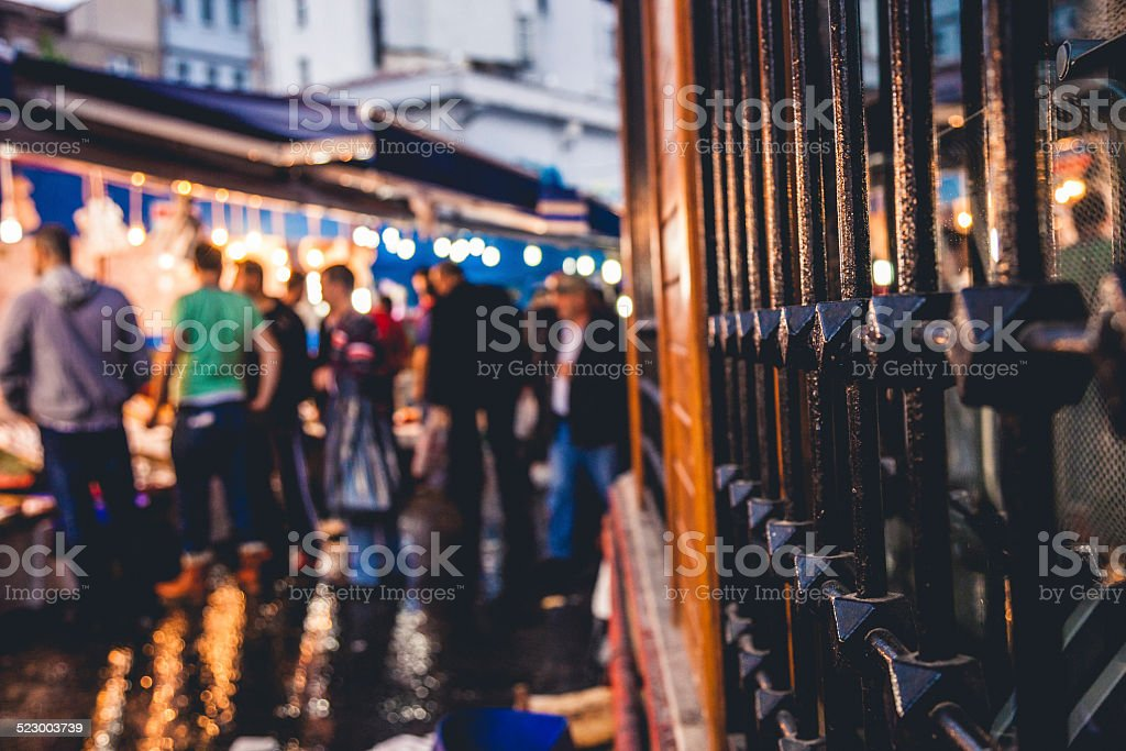People in Istanbul fish market stock photo