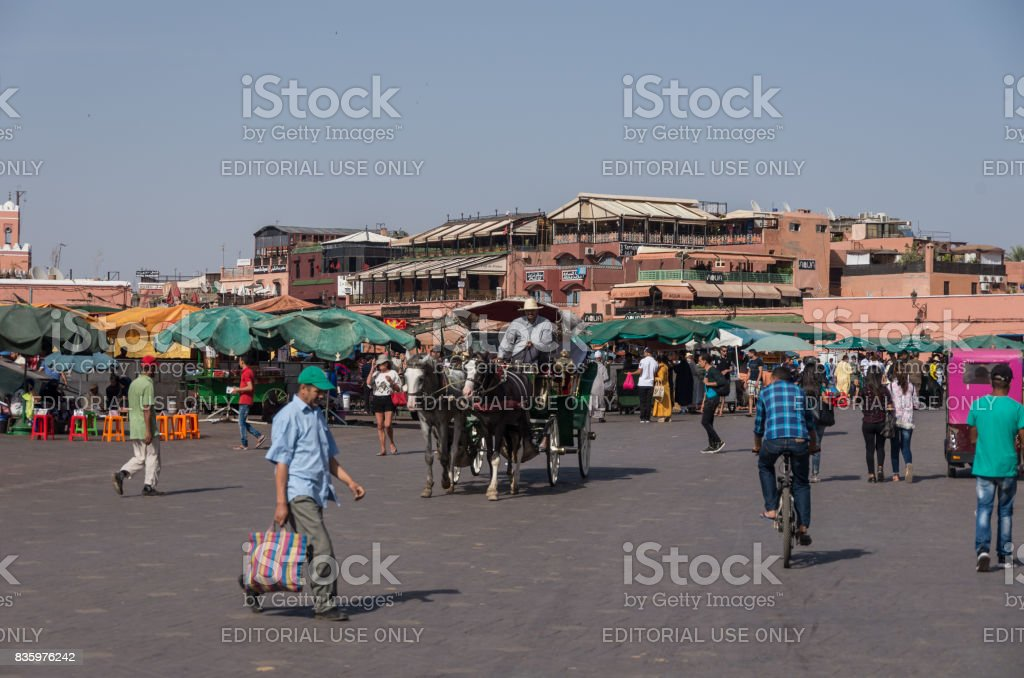 People in Jemaa el-Fna, main square of Marrakech, Morocco stock photo