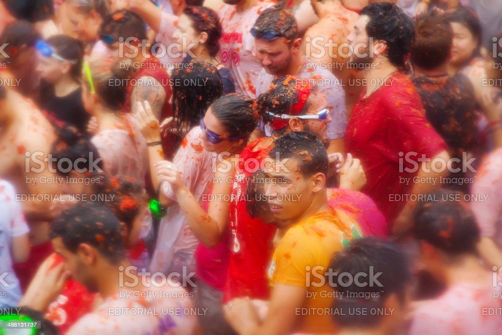 people in La Tomatina festiva royalty-free stock photo