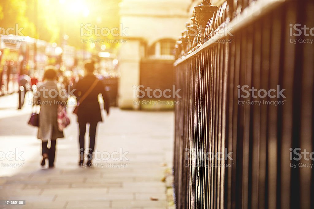 People in London streets stock photo