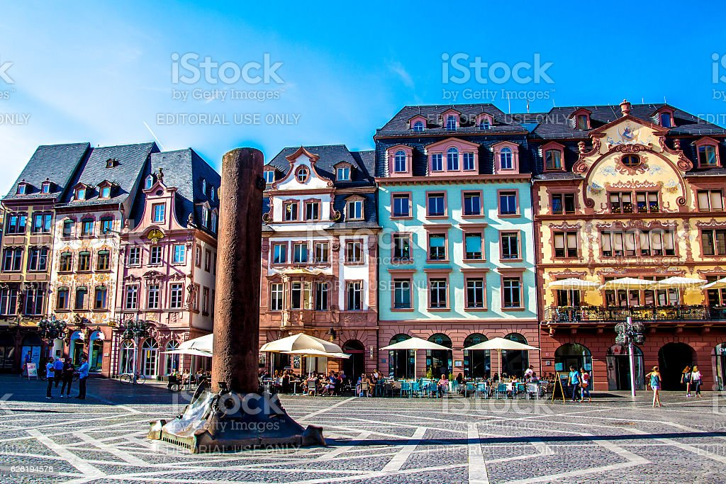 people in market square, in Mainz stock photo