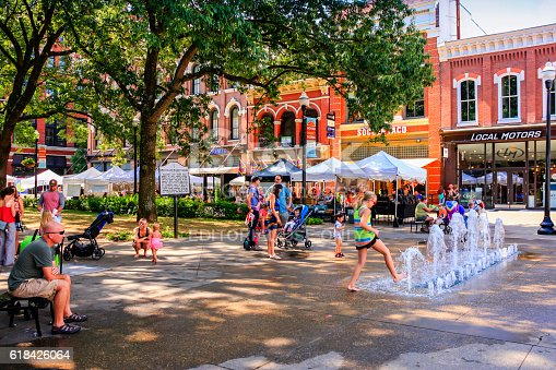 Knoxville, TN, USA - September 17, 2016: People in Market Square on market day in Knoxville, TN