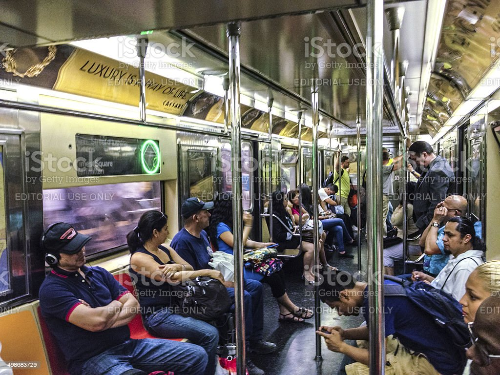 People In New York Subway Train Stock Photo - Download ...