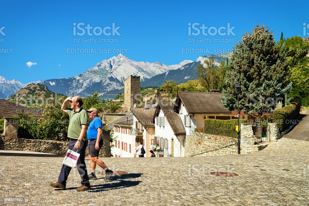 People in Old city Majorie Castle in Sion Valais Switzerland stock photo