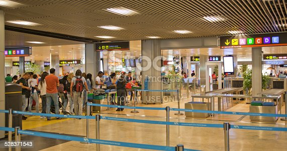 istock People in queue  waiting to registration. Madrid airport interior 528371543