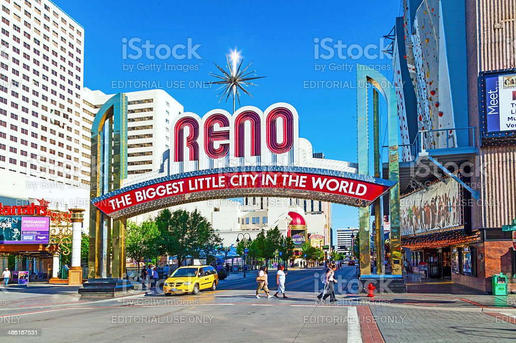 people in Reno The Biggest Little City in the World. stock photo