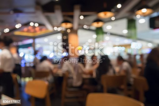 People in restaurant cafe or coffee shop interior with bokeh light blurred customer abstract business background, for create montage product display template