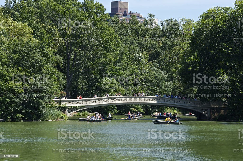 People in Rowboats near Bow Bridge, Central Park, Manhattan, NYC royalty-free stock photo