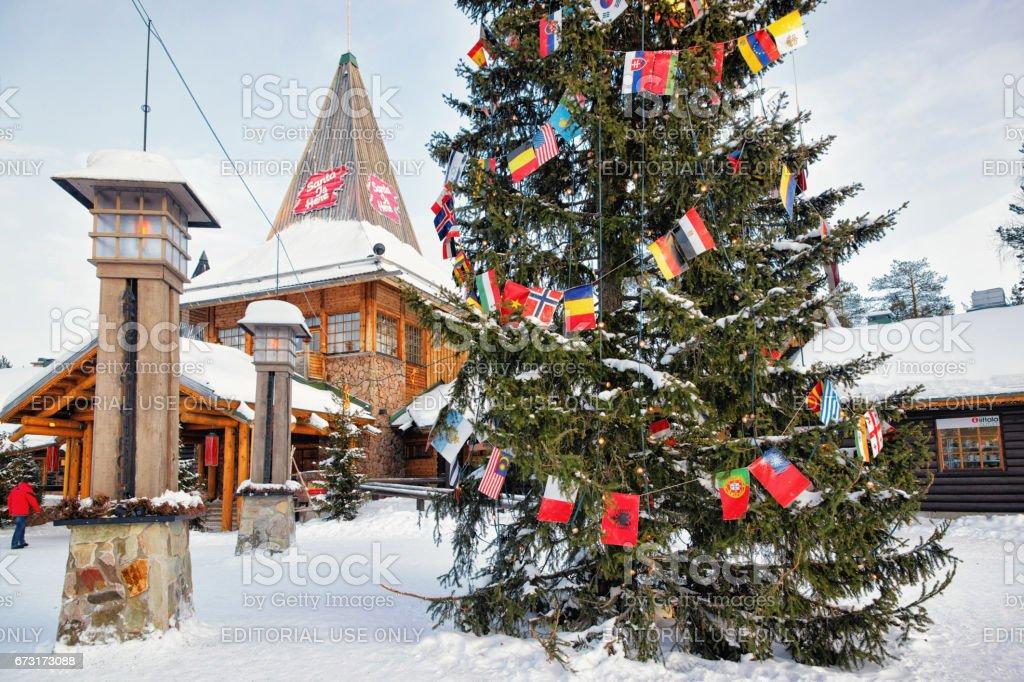 People in Santa Village in Lapland Scandinavia stock photo