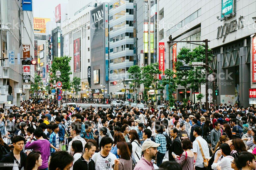 People in Shibuya crossroad in Tokyo, Japan stock photo