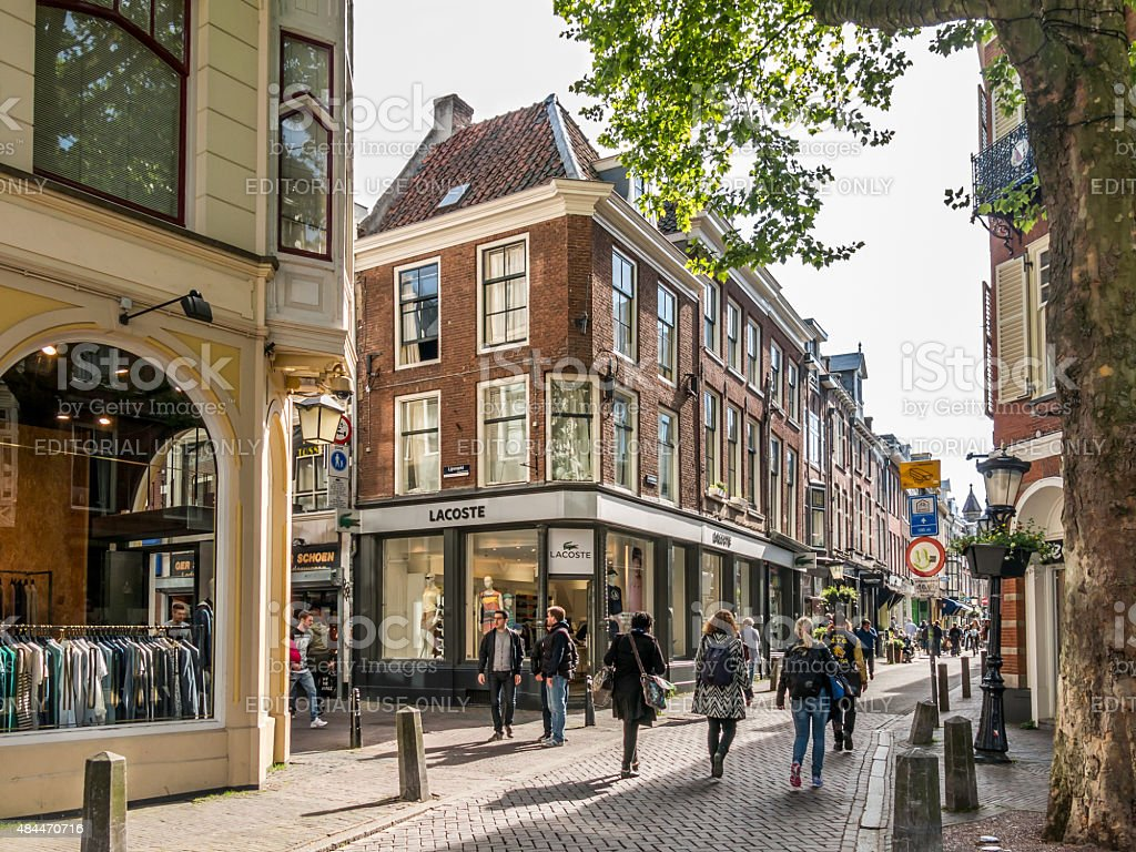 People in shopping streets in Utrecht, Netherlands stock photo