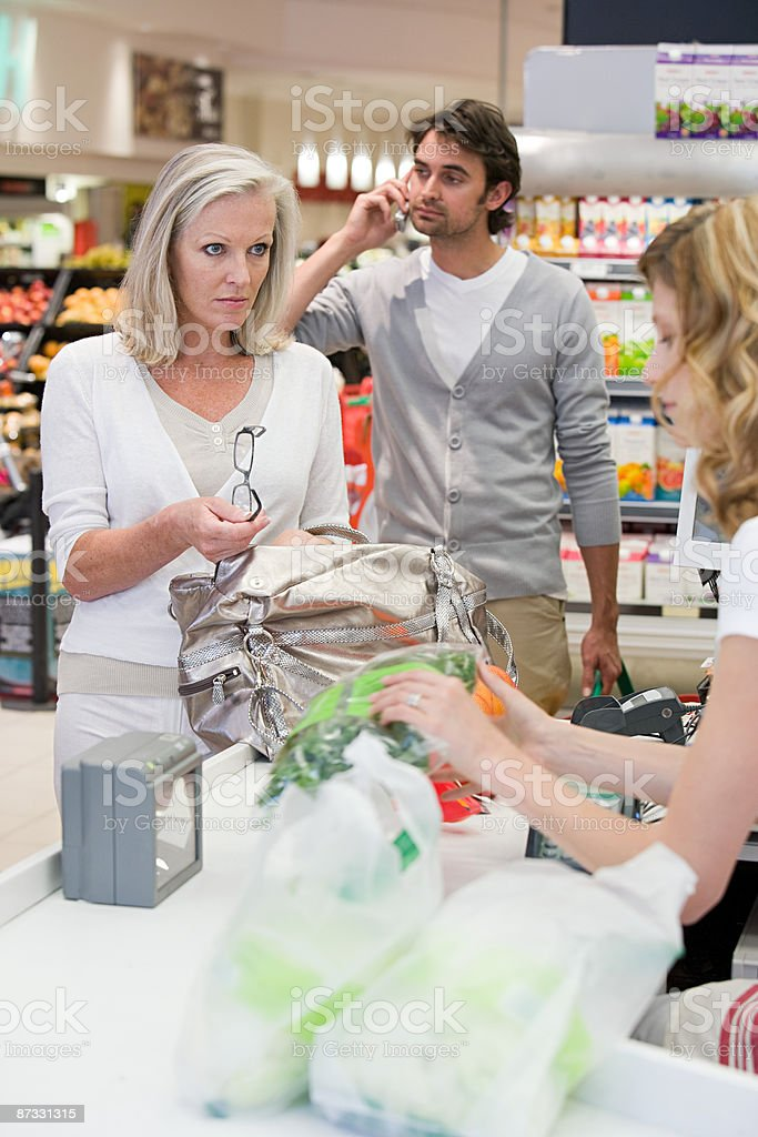 People in supermarket royalty-free stock photo