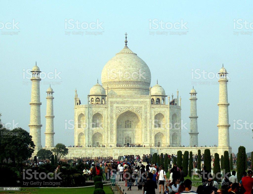 People in Taj Mahal stock photo