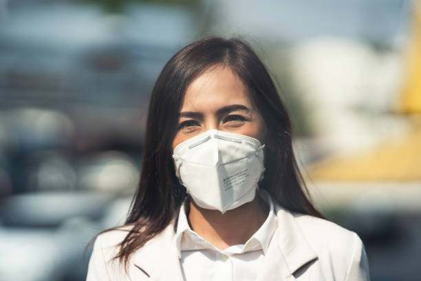 People in the Asian capital city are experiencing more PM 2.5 with higher AQI dust values. stock photo