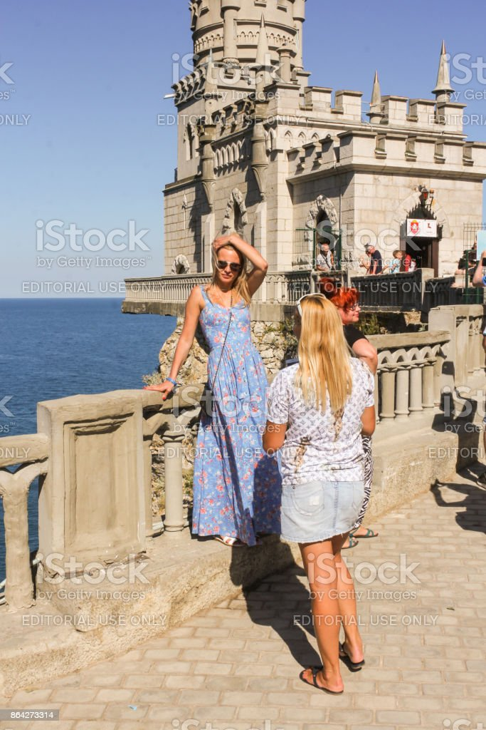People in the background of the castle. royalty-free stock photo