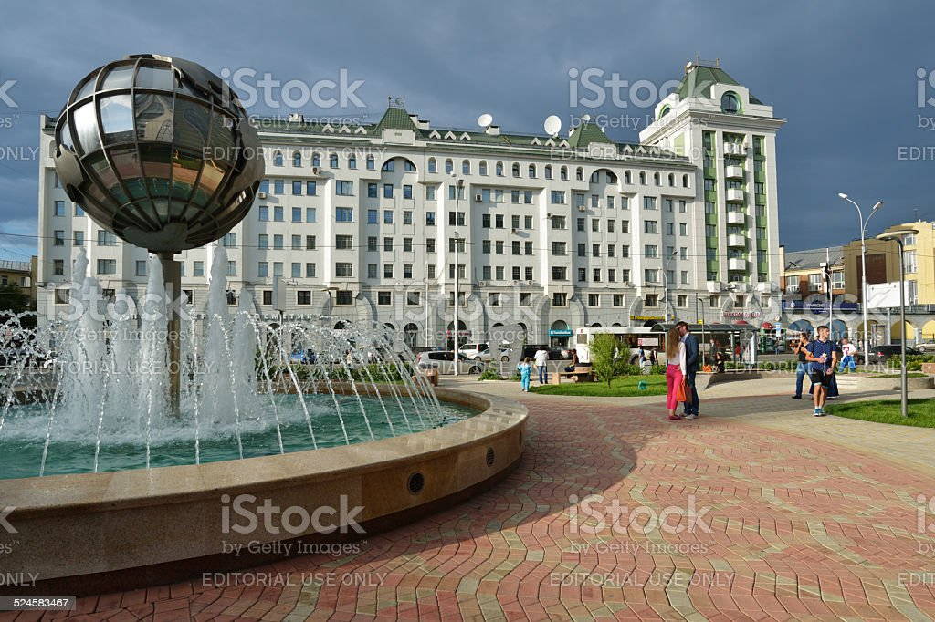 People in the center of Novosibirsk, Russia stock photo