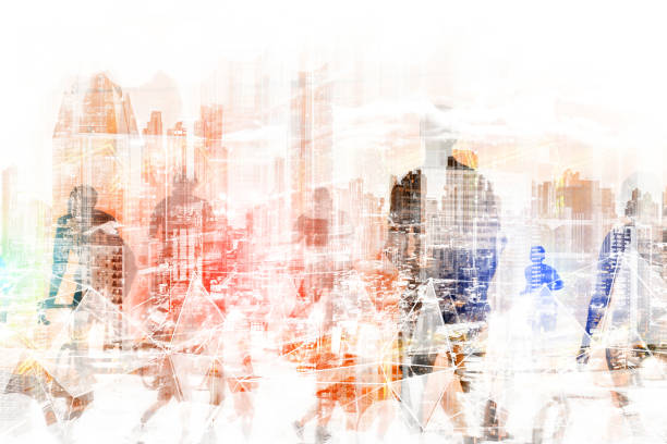 Menschen im Stadtkonzept-abstrakte Skyline der Stadt und Menschen, die auf der Straße Doppelbelichtung- – Foto