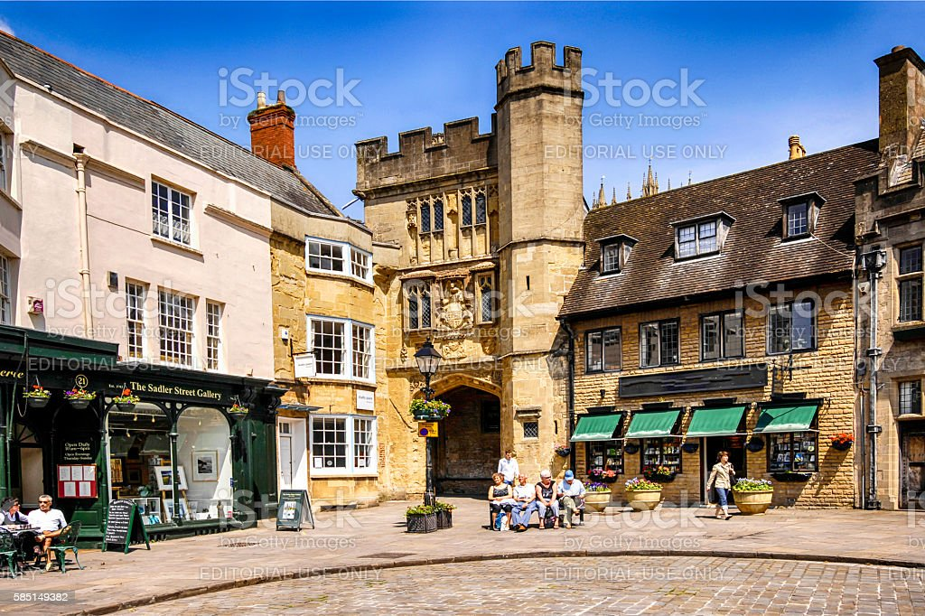 People in the City Market Square in Wells, UK stock photo