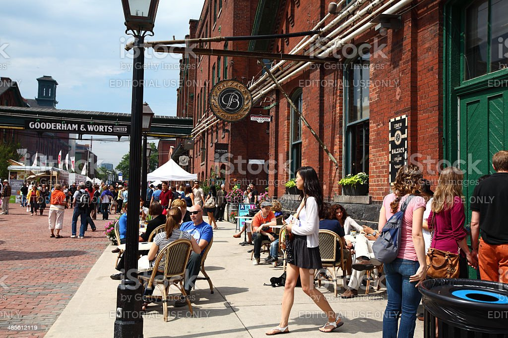 People in the Distillery District of Toronto stock photo
