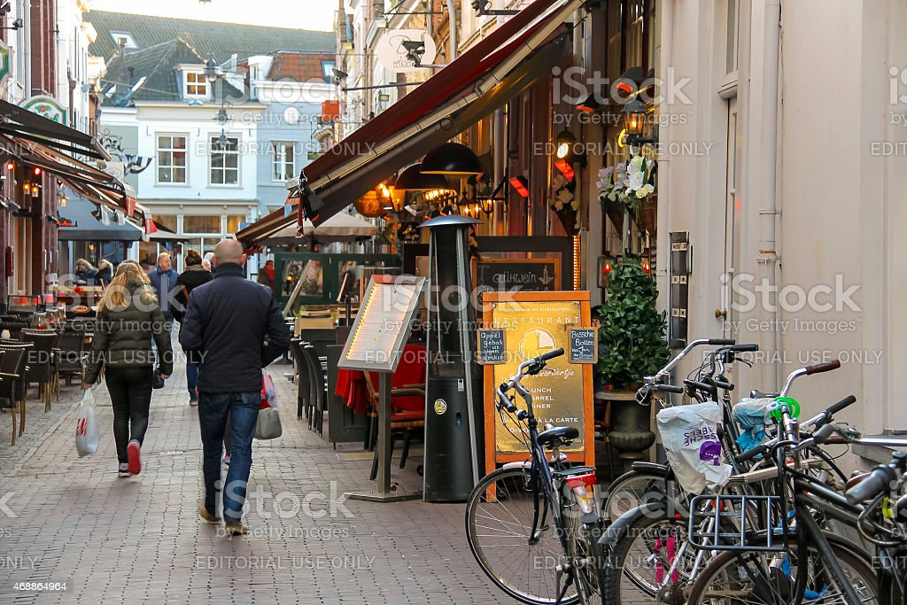People in the  Dutch city of Den Bosch stock photo