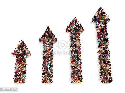 istock People in the form of arrows with gradual increasing 474781608