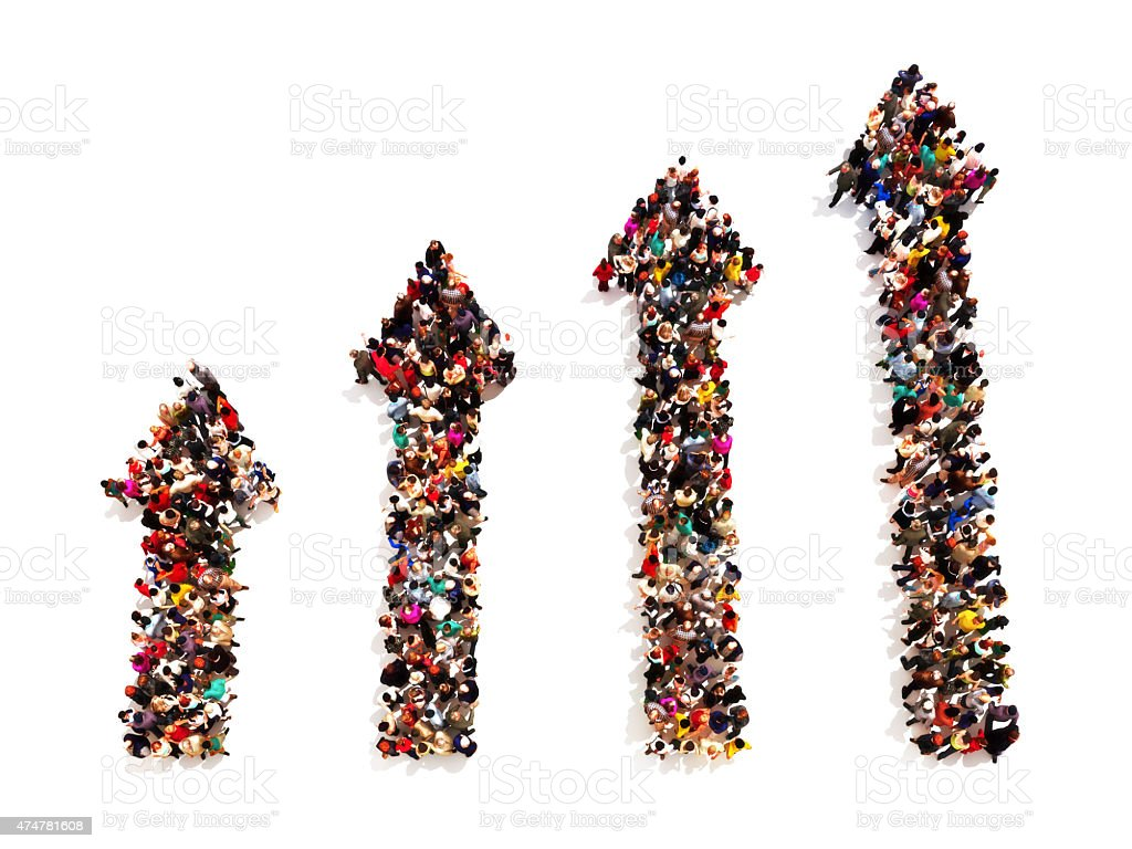 People in the form of arrows with gradual increasing stock photo