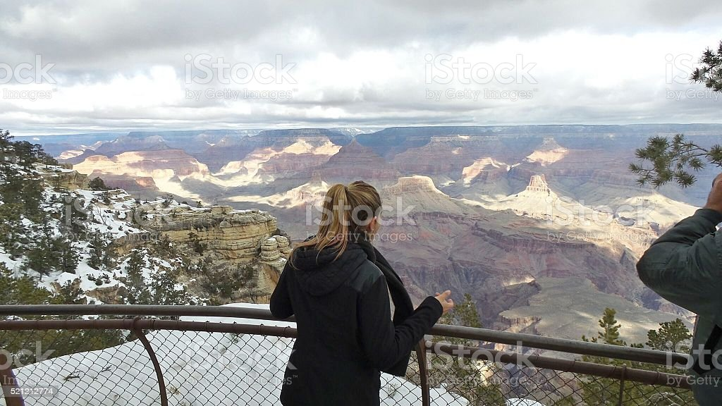 People in the Grand Canyon South Rim Arizona stock photo