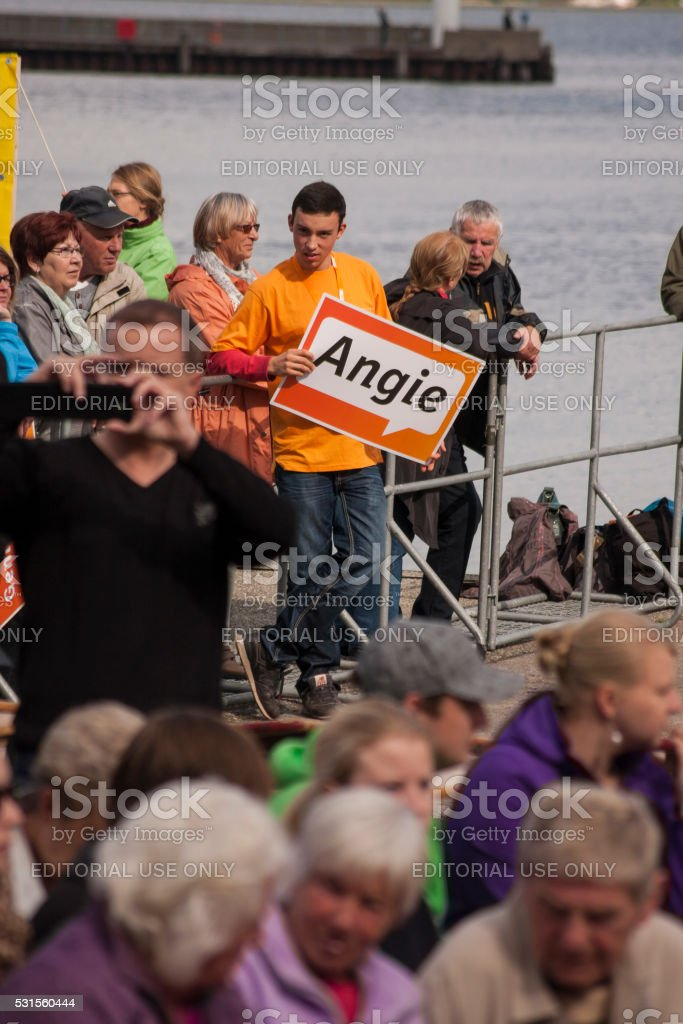People in the harbour of Stralsund during Merkel's visit stock photo