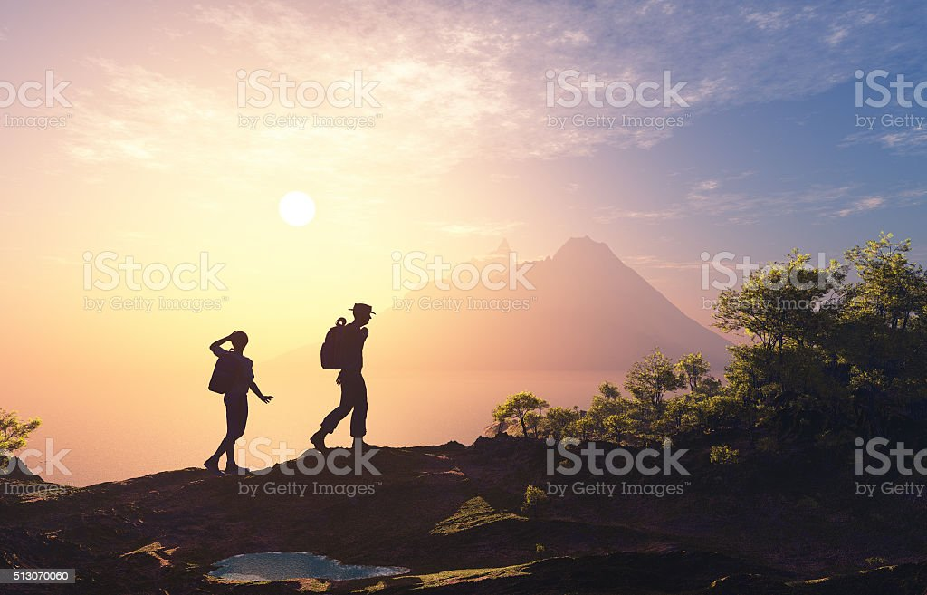 People in the mountains. stock photo
