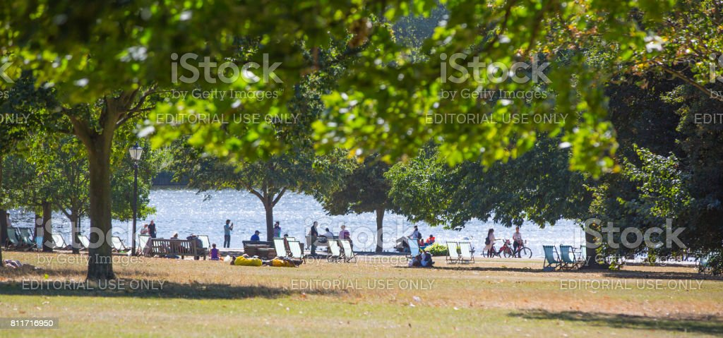 People in the park, London stock photo